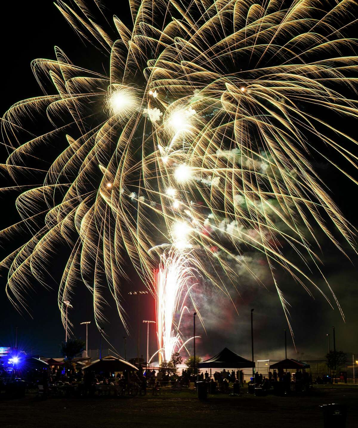 Fireworks go off after a short delay, Saturday, July 3, 2021 during an Independence Day celebration by the City of Laredo and Mayor Pro-Tempore Rudy Gonzalez at Independence Hills Regional Park.
