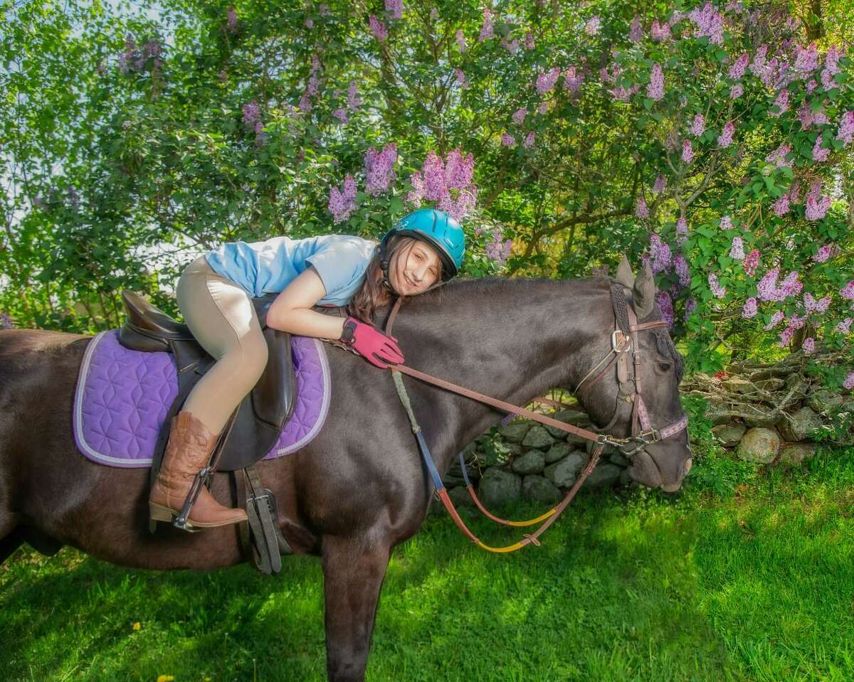 Little Britches rider Ruby Loeffler on Taz. Little Britches will hold an online fundraising auction Sept. 20 - Oct. 4.