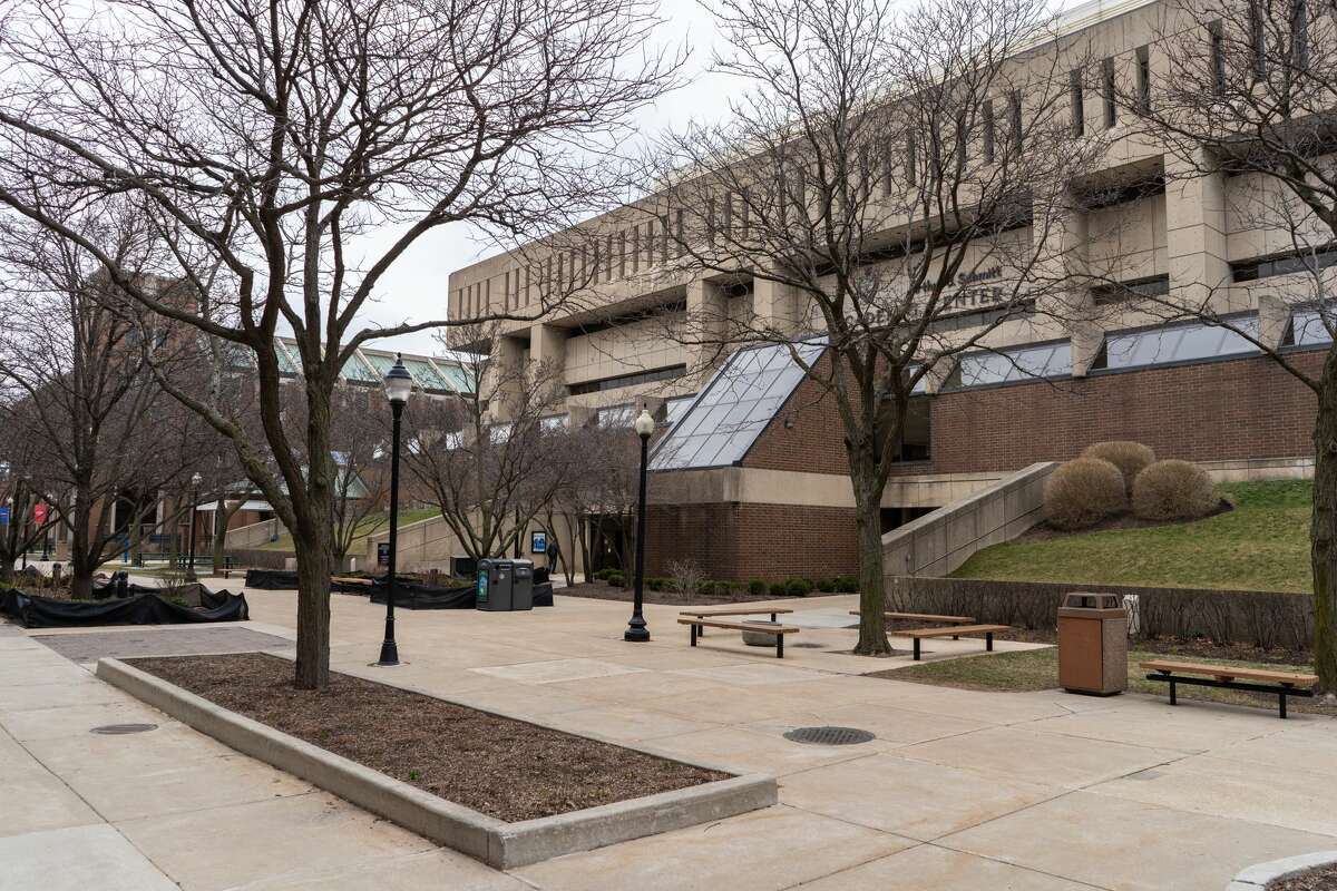 The Lincoln Park campus of DePaul University is seen largely empty early on during the pandemic. (Photo by Max Herman/NurPhoto via Getty Images)