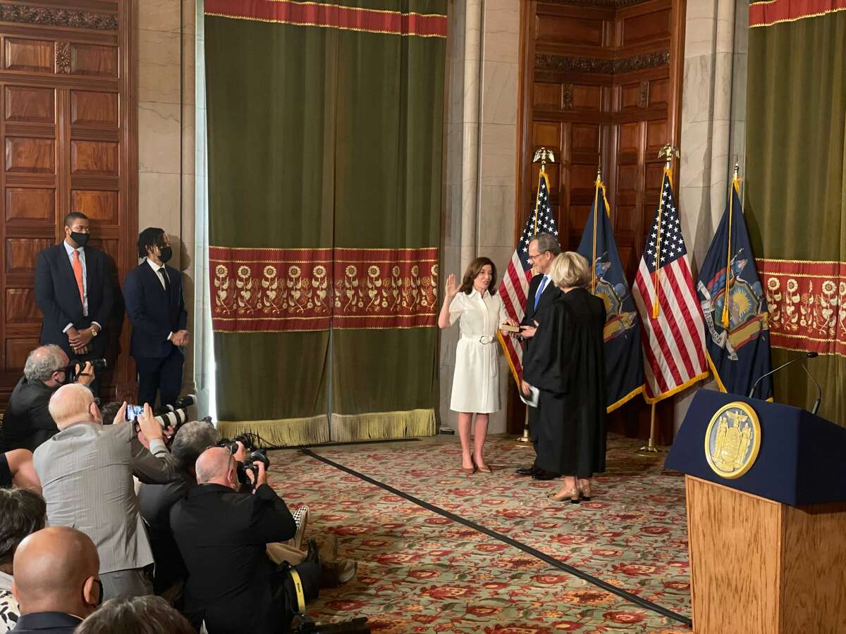 Kathy Hochul was sworn in again as the 57th governor of New York in a ceremony at the Red Room on Aug. 24 at 10 a.m.