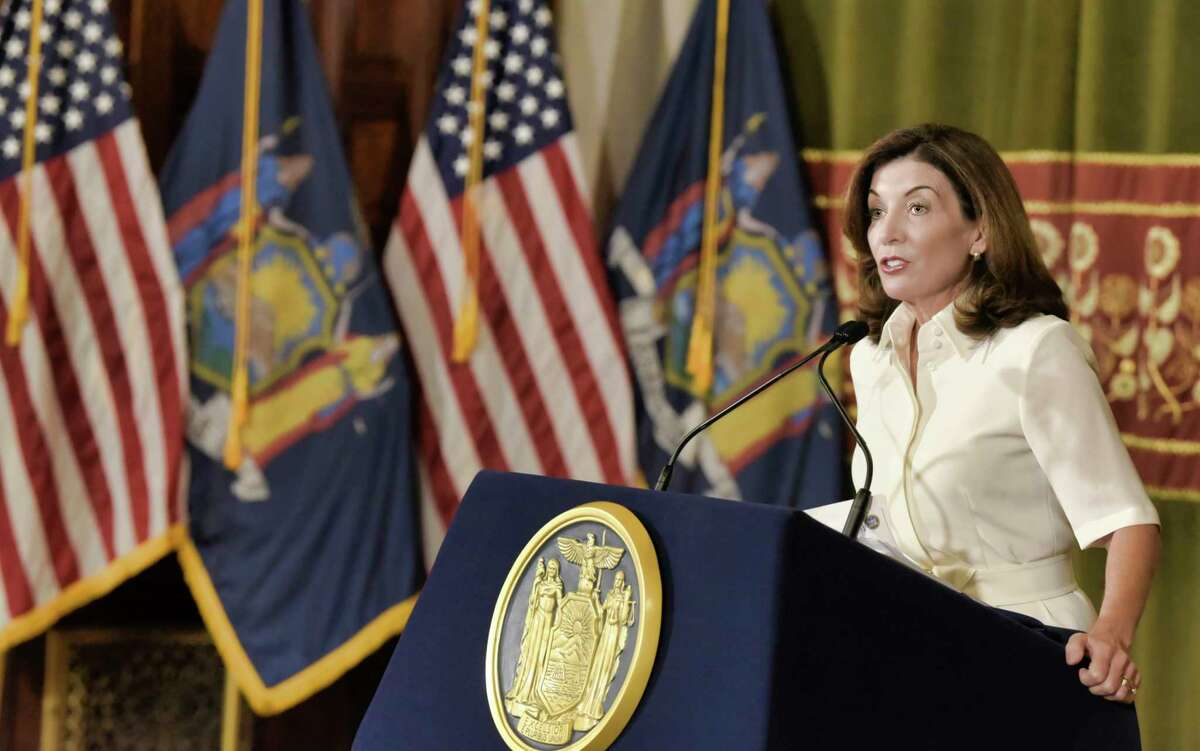 New York Governor Kathy Hochul speaks to members of the media following a ceremonial swearing-in ceremony at the Capitol, Tuesday, Aug. 24, 2021, in Albany, N.Y. She was in Buffalo on Labor Day announcing the signing of four bills that aimed to help workers.