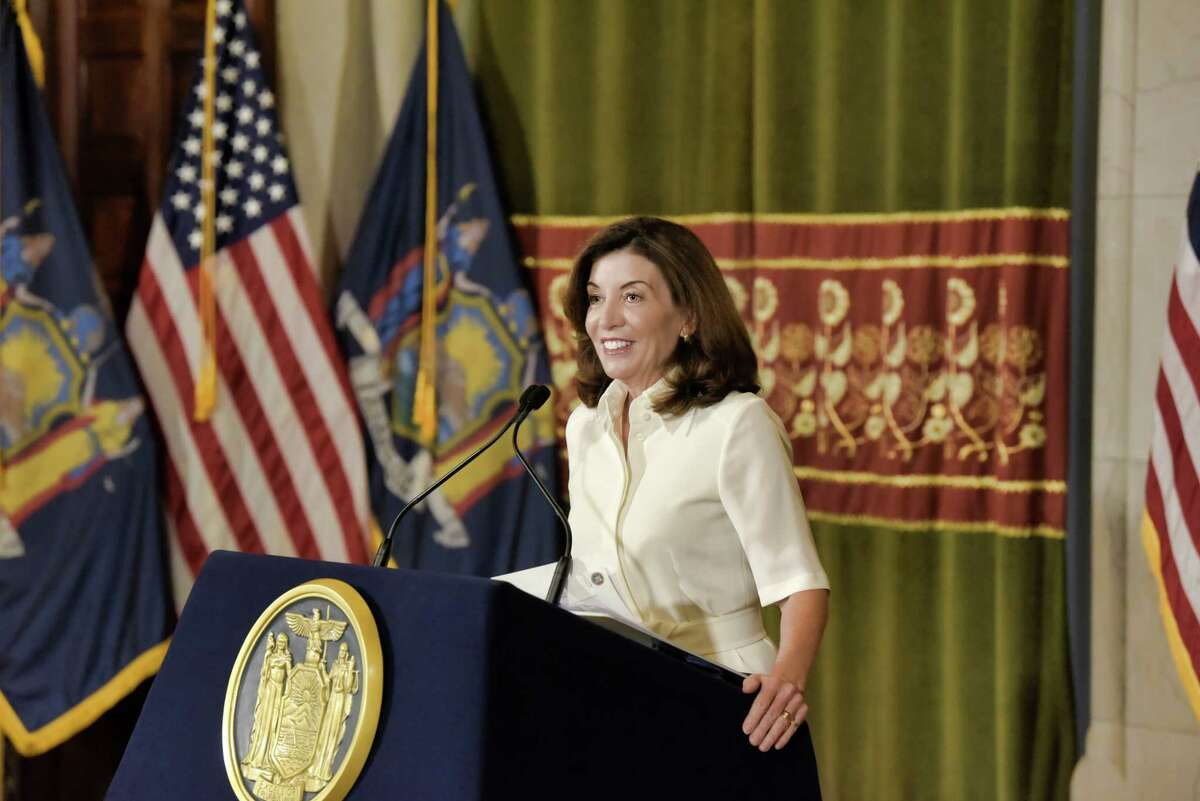 Gov. Kathy Hochul speaks to members of the media following a ceremonial swearing-in ceremony Tuesday at the Capitol. Hochulordered universal masking for anyone entering schools in the state.