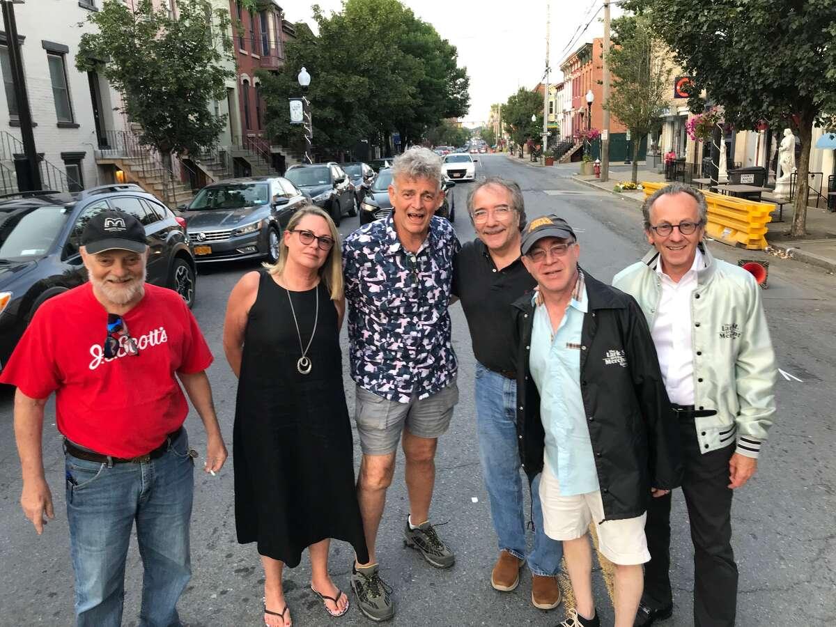 Founders of LarkFest pose in Lark Street: from left, Tom Mottolese, Cathy Culver, Jim Furlong, Mark Joseph Kelly, Peter Iselin and Joe Culver.
