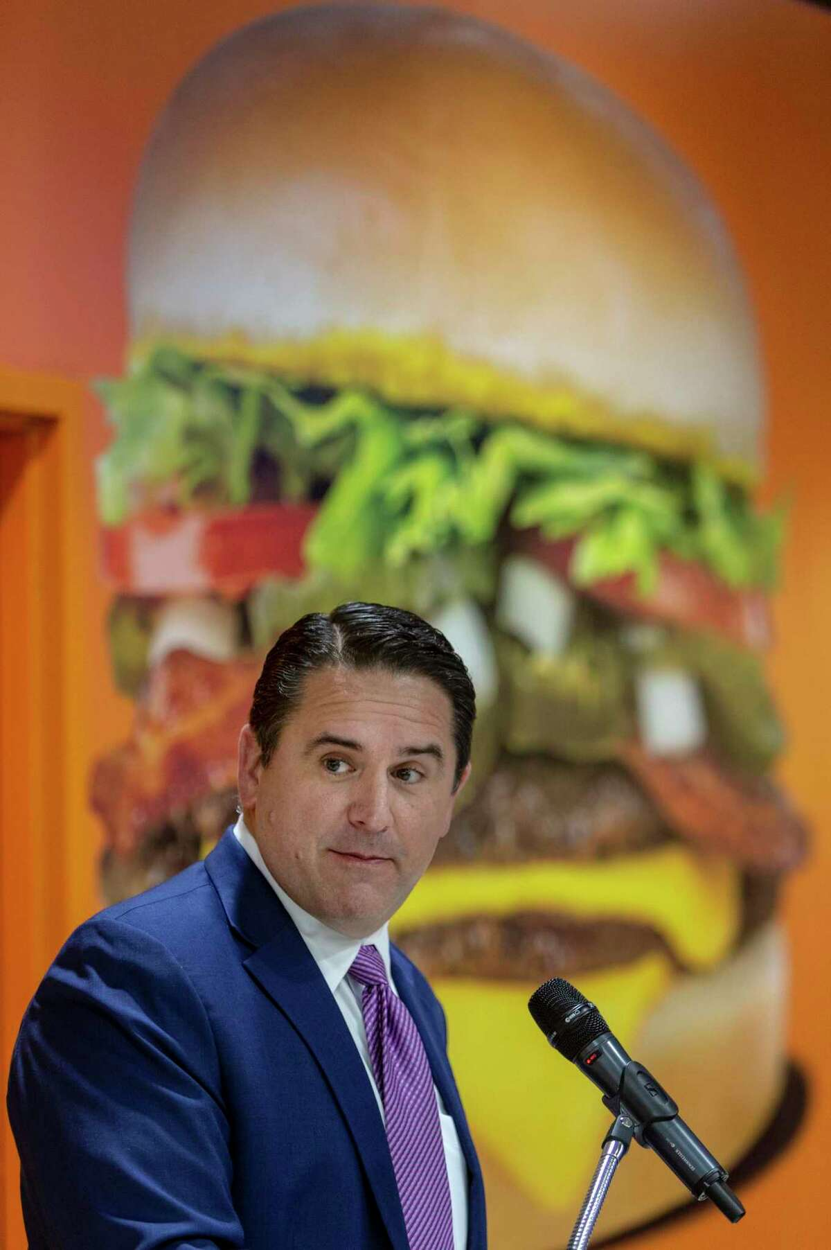San Antonio city manager Erik Walsh speaks Tuesday morning, Aug. 24, 2021 at the San Antonio Airport during a news conference to announce Whataburger will be opening a store in Terminal B. Whataburger enters the airport after the 2019 controversy surrounding the City of San Antonio's handling of a contract for a Chick-fil-A restaurant at the same location.