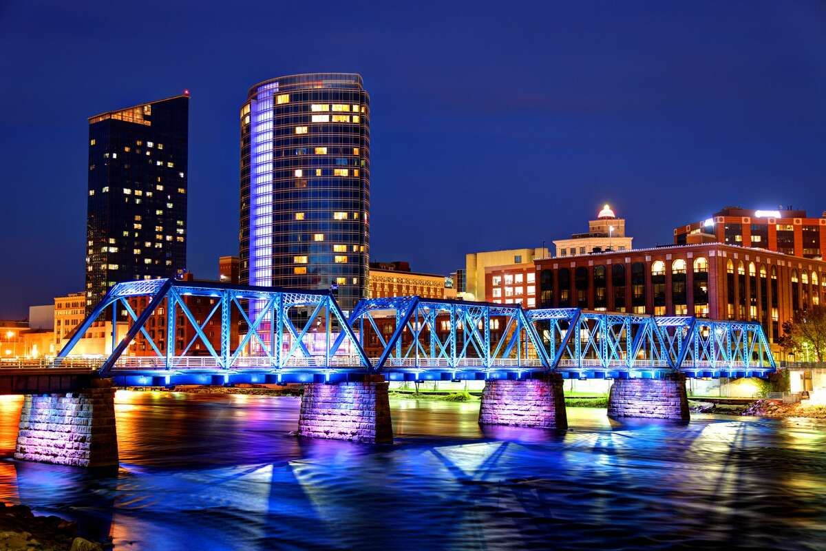 Grand Rapids skyline along the banks of the Grand river.
