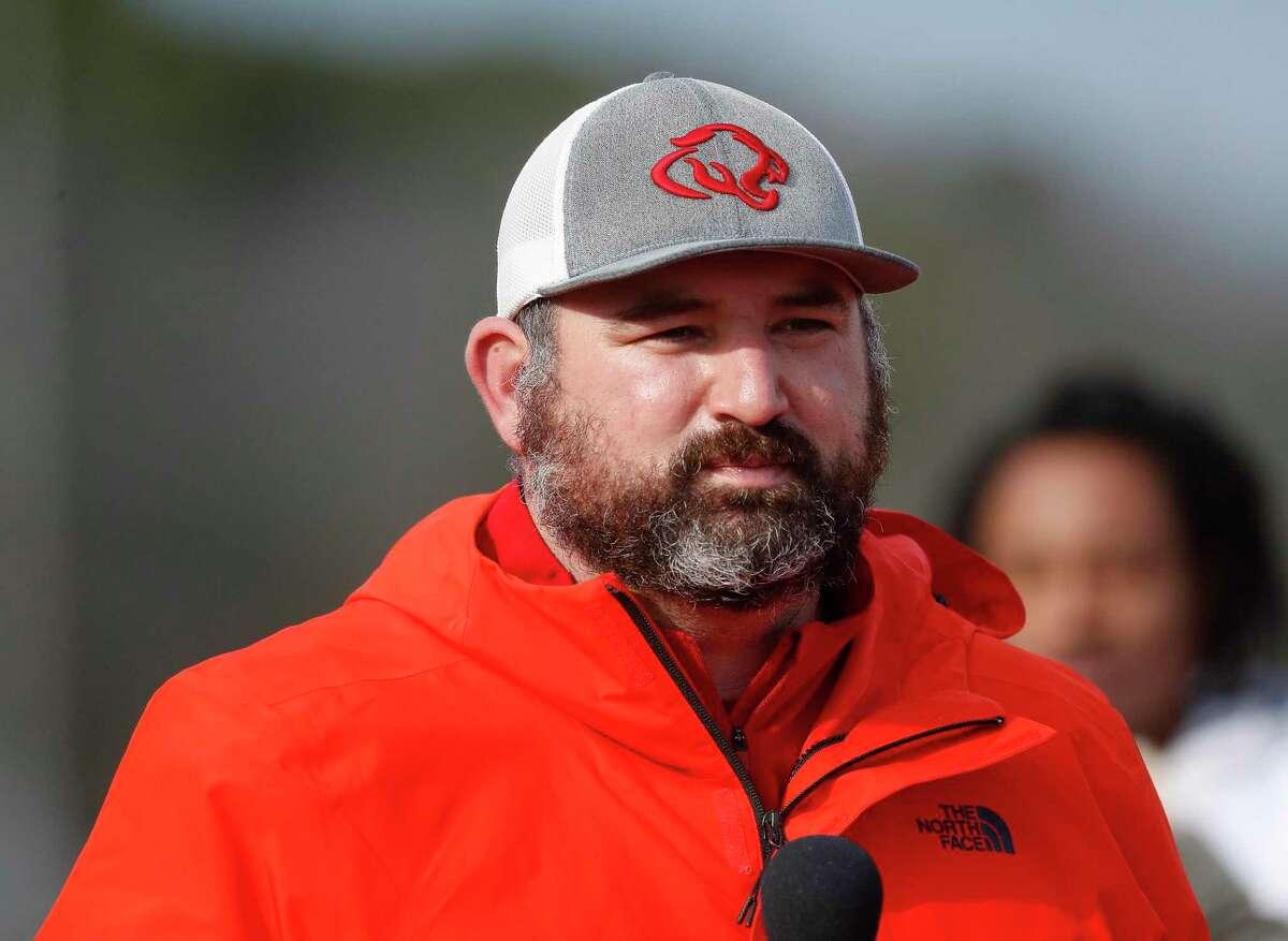 Crosby High School's head football coach, Jerry Prieto, during football practice last season.