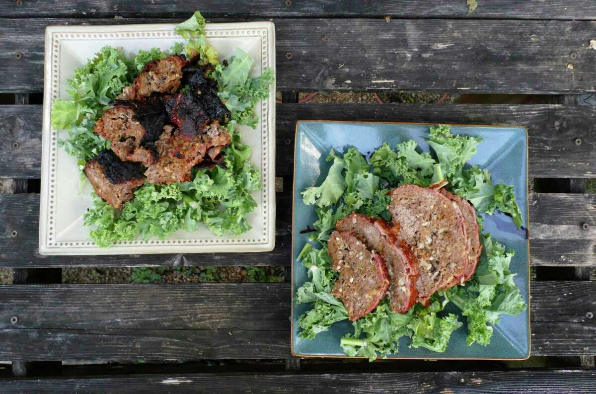 Grilled meatloaf, left, and smoked meatloaf