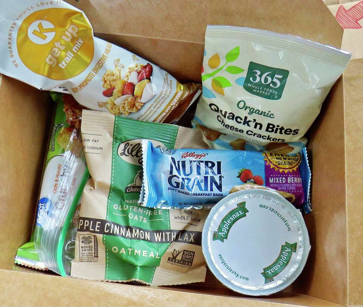 Contents of bento box for CDR's newly launched Healthy Snack Pack program funded by a grant from Dunkin' Joy in Child Foundation.