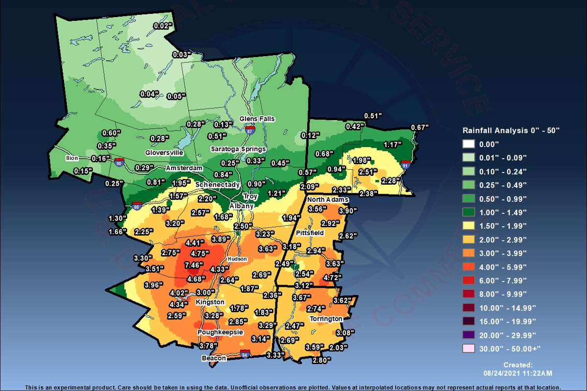 Tropical Depression Henri preliminary rainfall totals, as of 12 p.m. Tuesday, Aug. 24, 2021, from the National Weather Service in Albany.