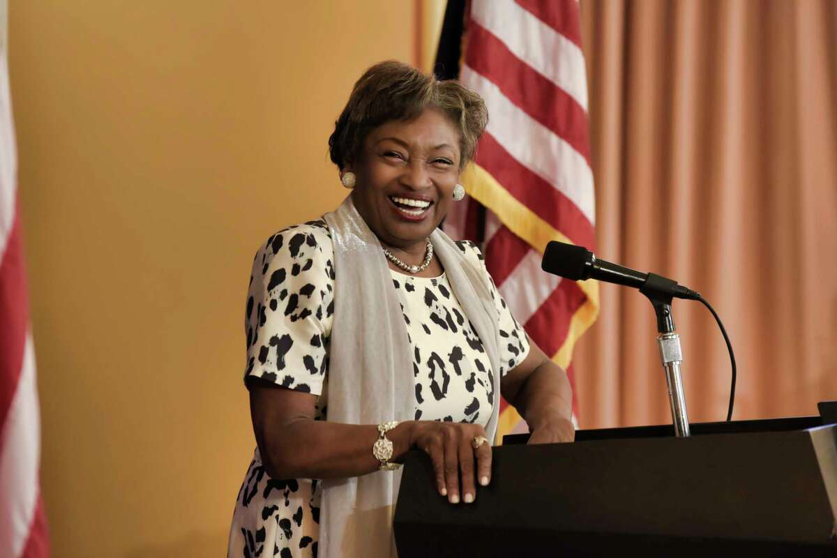 Senate Majority Leader Andrea Stewart-Cousins laughs during a press conference she held to talk about Kathy Hochul being sworn in as the first woman governor of New York State, on Tuesday, Aug. 24, 2021, in Albany, N.Y.