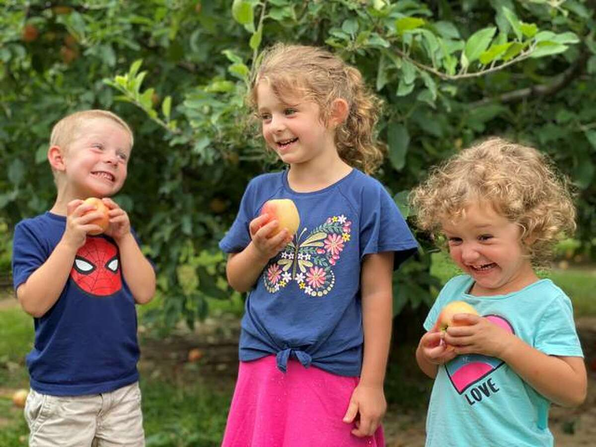 Allegra, 6, Luca, 4, and Gigi, 3.5, Piazza enjoy apples at Liberty Apple Orchard in Edwardsville. The orchard celebrated the start of its season this past Saturday and is ready for guests to take part in picking apples.