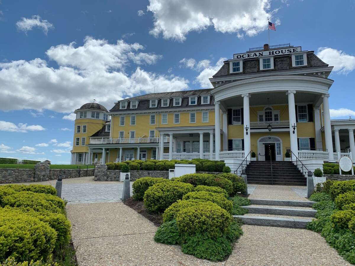 The Ocean House, a waterfront hotel in Westerly, Rhode Island, originally opened in the 1860s. It was completely reconstructed in the early 2000s with its distinctive Victorian architecture largely preserved.