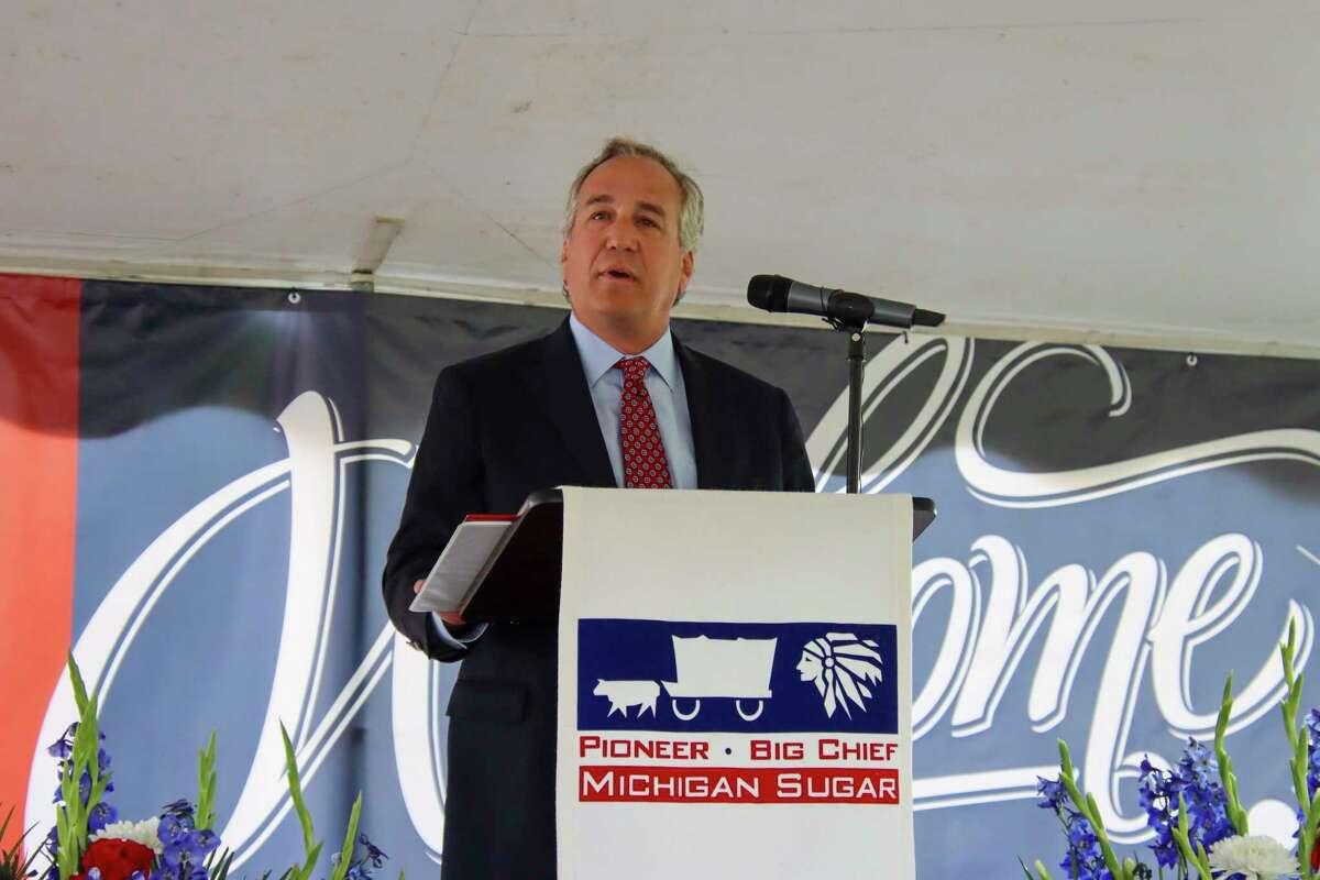 Michigan Sugar Company President and CEO Mark S. Flegenheimer explains the purpose behind the investment and the returns the company expects to see. (Scott Nunn/Huron Daily Tribune)