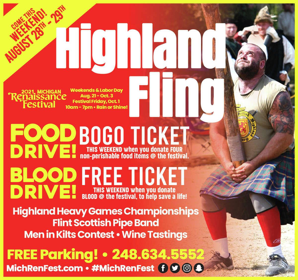 Michigan Renaissance Festival's Highland Fling weekend flyer.