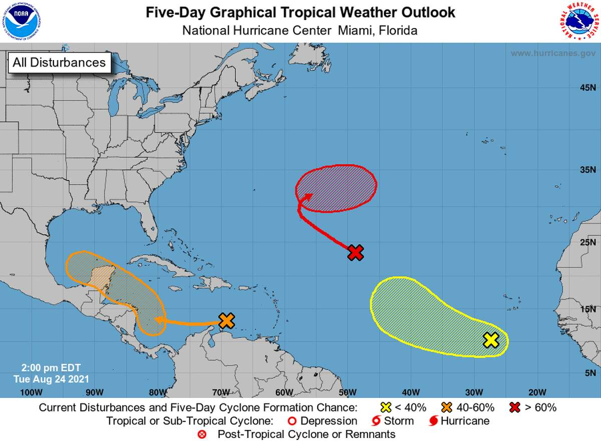 Three disturbances are currently being monitored in the Atlantic. The one in the Caribbean Seais expected to become a tropical depression in the southern Gulf of Mexico by Sunday.