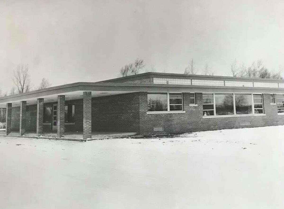 Plymouth Elementary School, designed by Alden B. Dow and built by W.R. Collinson, features a covered porch that will shelter children from the weather. There are five classrooms. January 1953