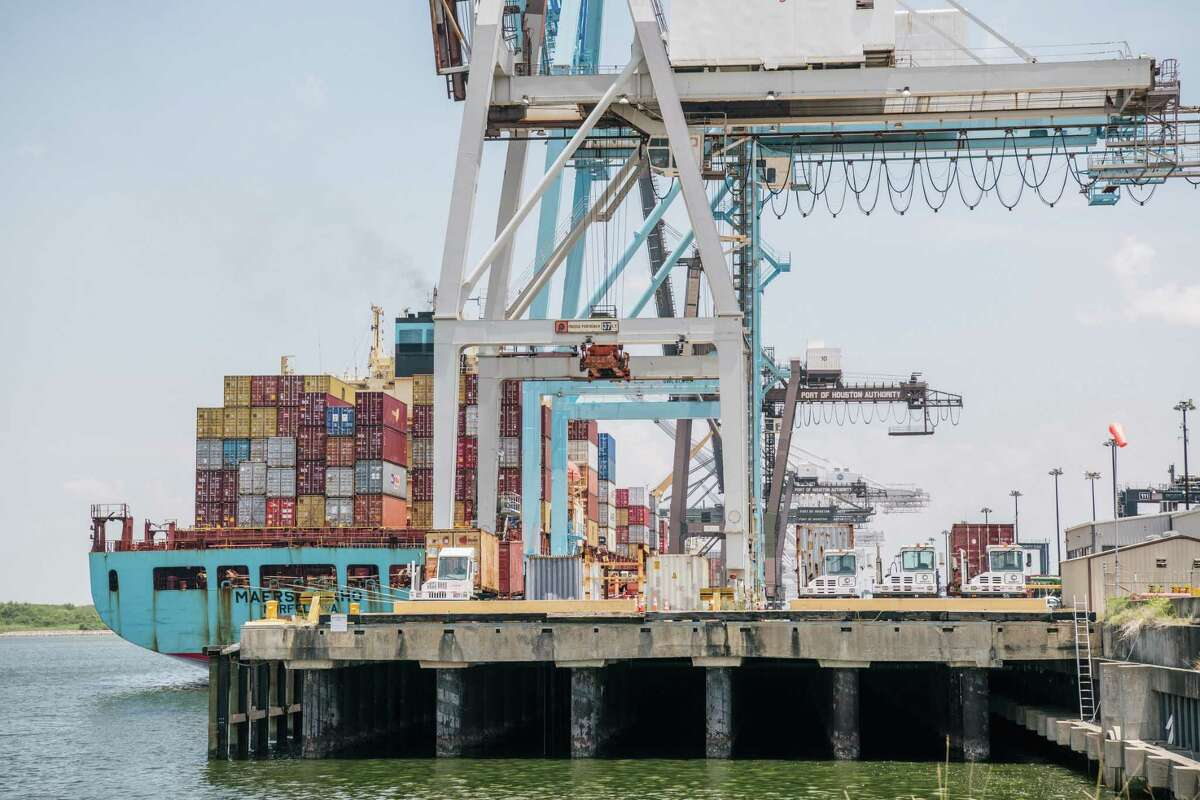 The Maersk Idaho container ship at the Port of Houston Authority on July 29, 2021 in Houston, Texas. A.P. Moller - Maersk A/S has ordered eight new vessels, each costing $175 million, that can be propelled by cleanly made methanol instead of an oil-based fuel.