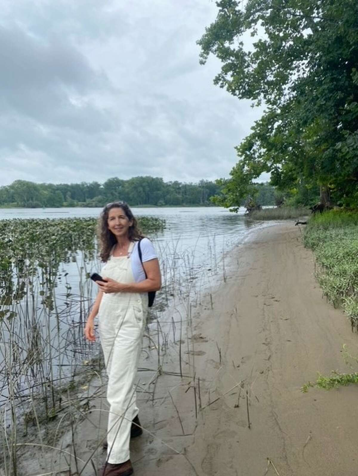 Author Susan Petrie, seen here at a little-known spot just south of the Albany and Greene county borders off of Route 144, has gone from explorer to knowledgeable tour guide.