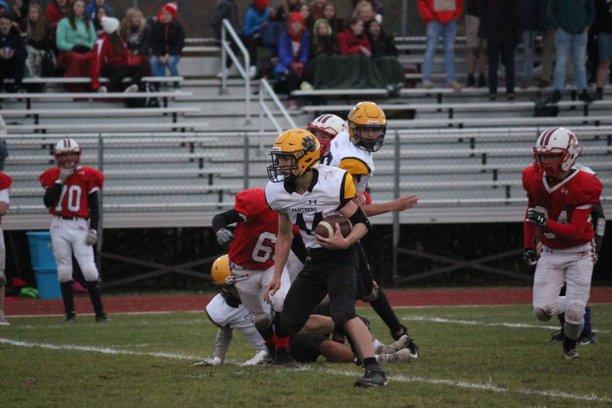 Senior wide receiver/linebacker Jared Coxe carries the ball upfield for Frankfort against Benzie.