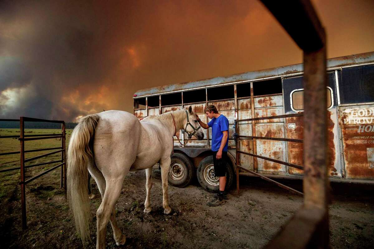 Hunter McKee pets Rosy after helping evacuate the horse to the edge of Lake Almanor as the Dixie Fire approached Chester on Aug. 3. Officials had issued evacuation orders for the town earlier in the day as dry and windy conditions led to increased fire activity.