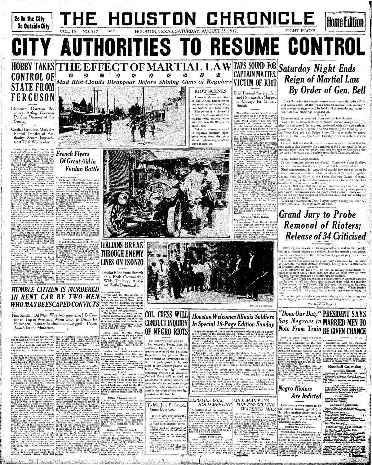 Houston Chronicle front page for Aug. 25, 1917.