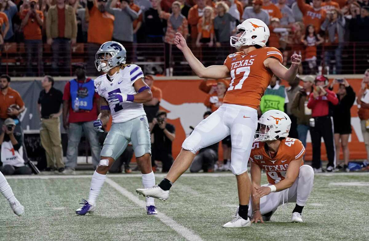 Texas' Cameron Dicker watches his last-second winning field goal against Kansas State on Saturday, Nov. 9, 2019.