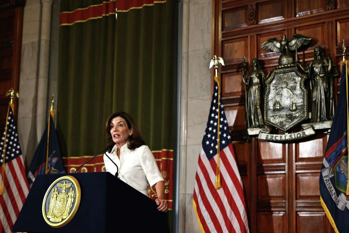 Gov. Kathy Hochul speaks after taking her ceremonial oath of office at the state Capitol.