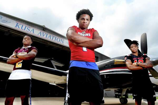 Beaumont United's Chandler Rivers, West Brook's Bryce Anderson and Port Arthur Memorial's Jaylon Guilbeau are the region's stand-outs in enforcing the no-fly zone defense. Photo made Wednesday, August 4, 2021 Kim Brent/The Enterprise