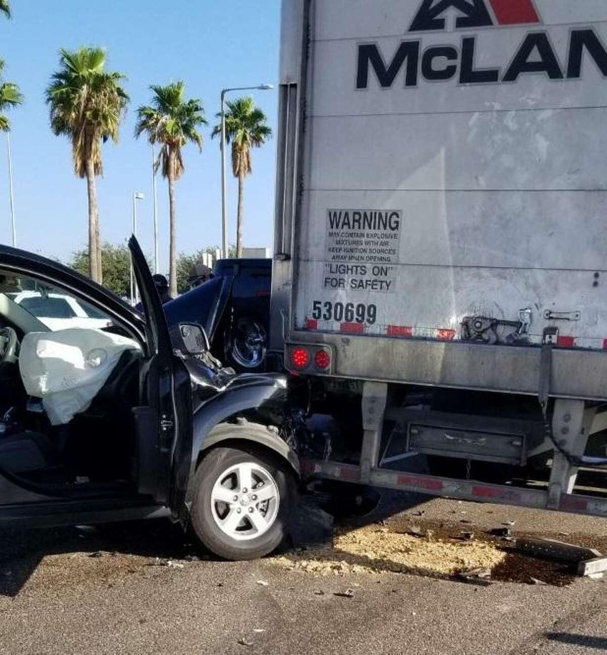 Laredo Fire Department crews said two women were injured in this crash reported along Bob Bullock Loop.
