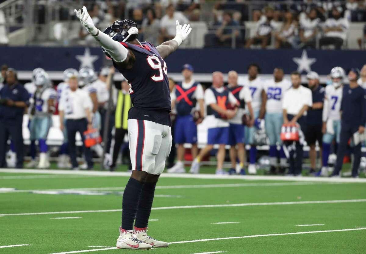 Texans defensive end Charles Omenihu enjoys one of his two sack sacks last week against the Cowboys.