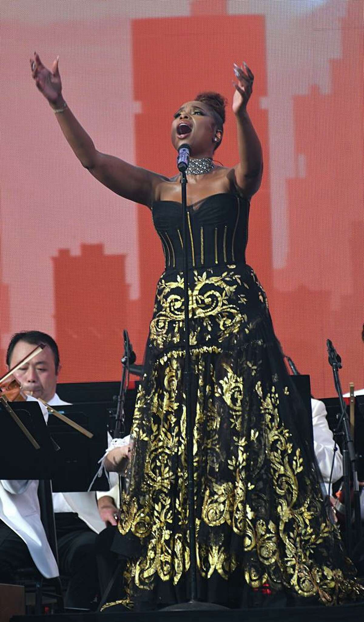 Singer Jennifer Hudson is shown performing with the New York Philharmonic Symphony Orchestra at We Love NYC - The Homecoming Concert on August 21, 2021.