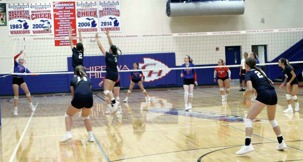 The Chippewa Hills volleyball team began its season with a victory at home over Shepherd on Tuesday night. (Pioneer photo/Joe Judd)