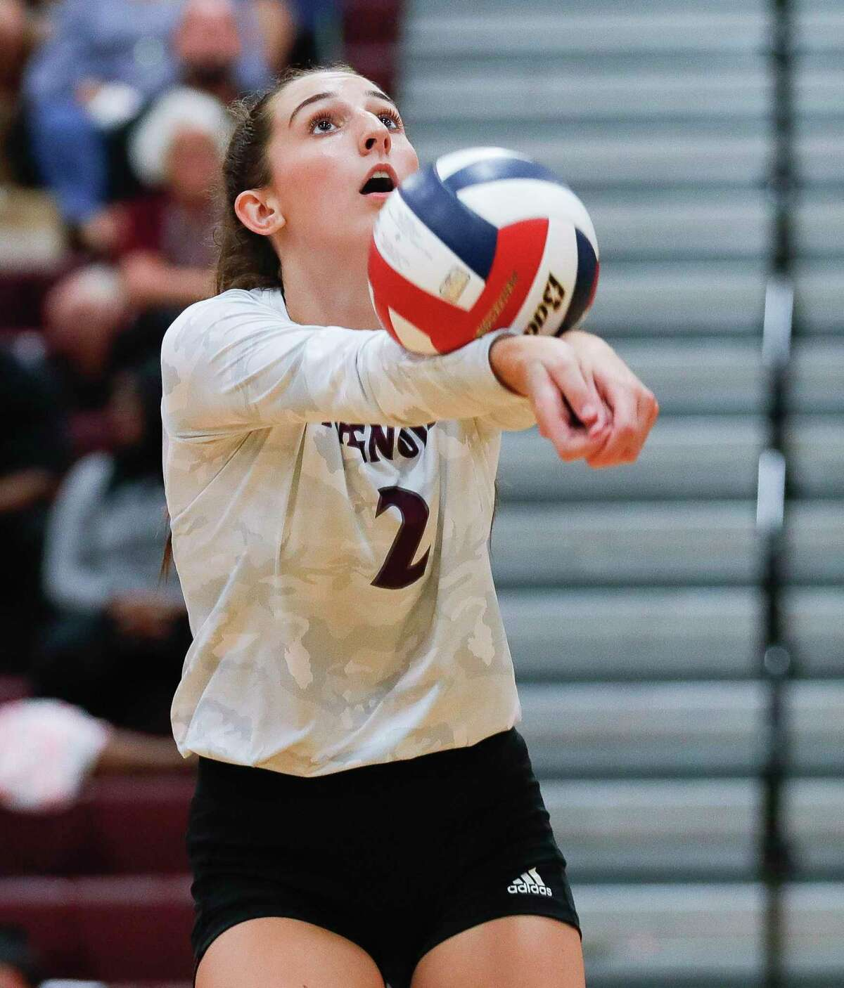Magnolia setter Chloe Richards (2) makes a pass in the first set during a high school volleyball match at Magnolia High School, Tuesday, Aug. 24, 2021, in Magnolia.