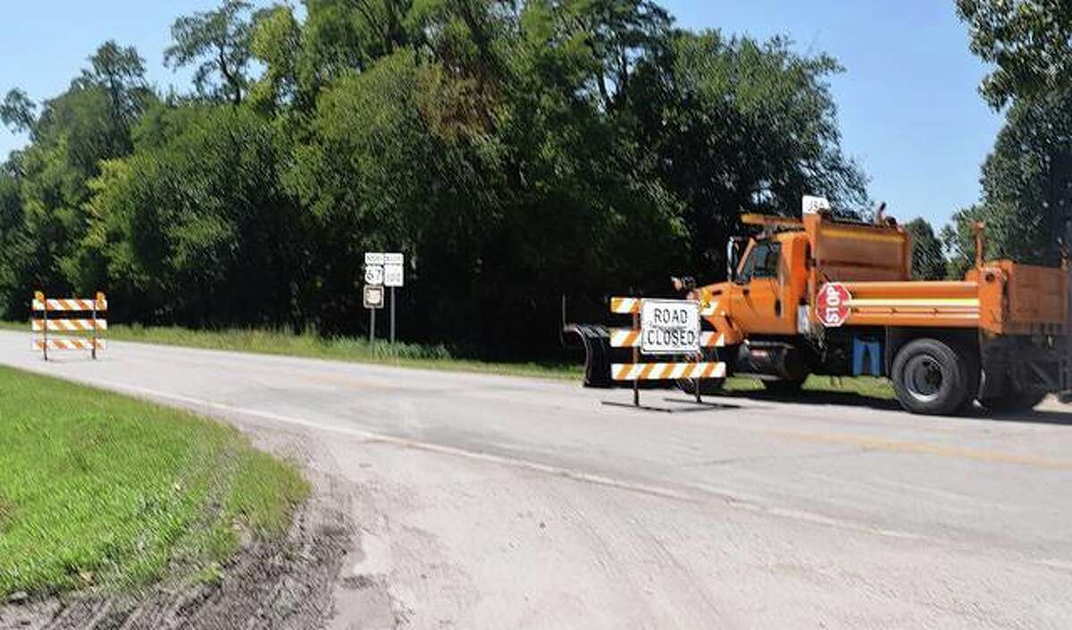 U.S. 67 south of Beardstown was closed Monday and part of Tuesday while Ameren Illinois crews restored powerlines damaged during a super-cell storm.