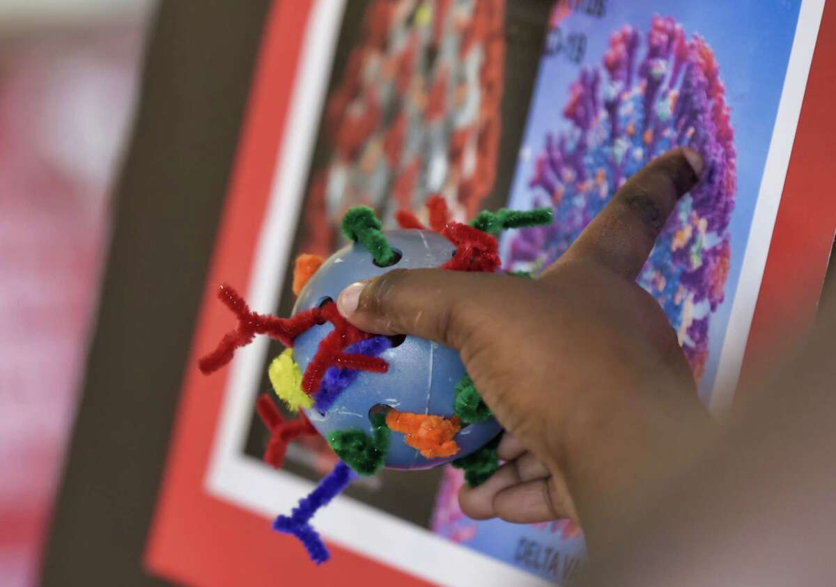 A child holds their model of a delta variant coronavirus created with a whiffle ball and pipe cleaners as they talk about it at the Black Nurses Coalition kid's health camp on Tuesday, Aug. 24, 2021, in Albany, N.Y.