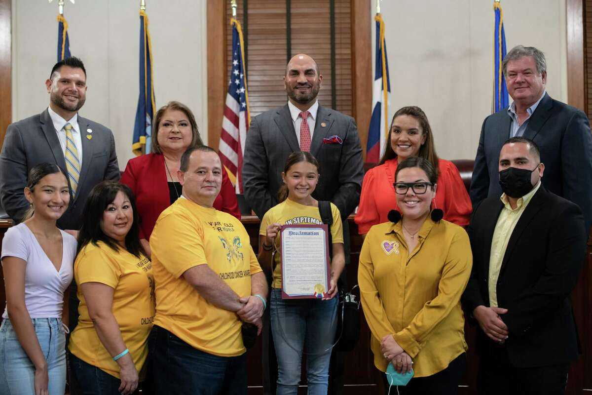 The Golden Heart Project and Smiles from Heaven nonprofits gathered their members to talk about the importance of childhood cancer awareness and to be present for a proclamation from the county on Monday Aug. 23, 2021.
