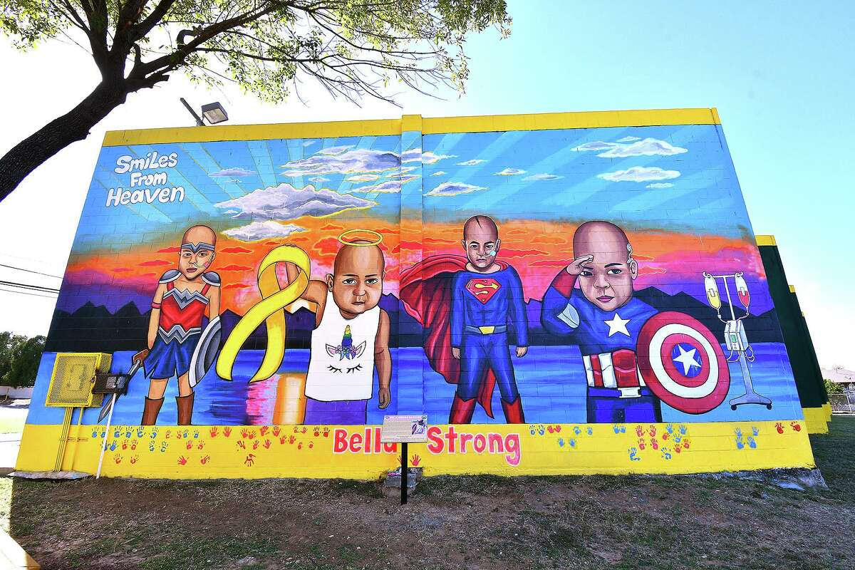Pictured is a mural of Bella Sanchez, the inspiration for Smiles From Heaven, created locally by artist Abel Gonzalez.