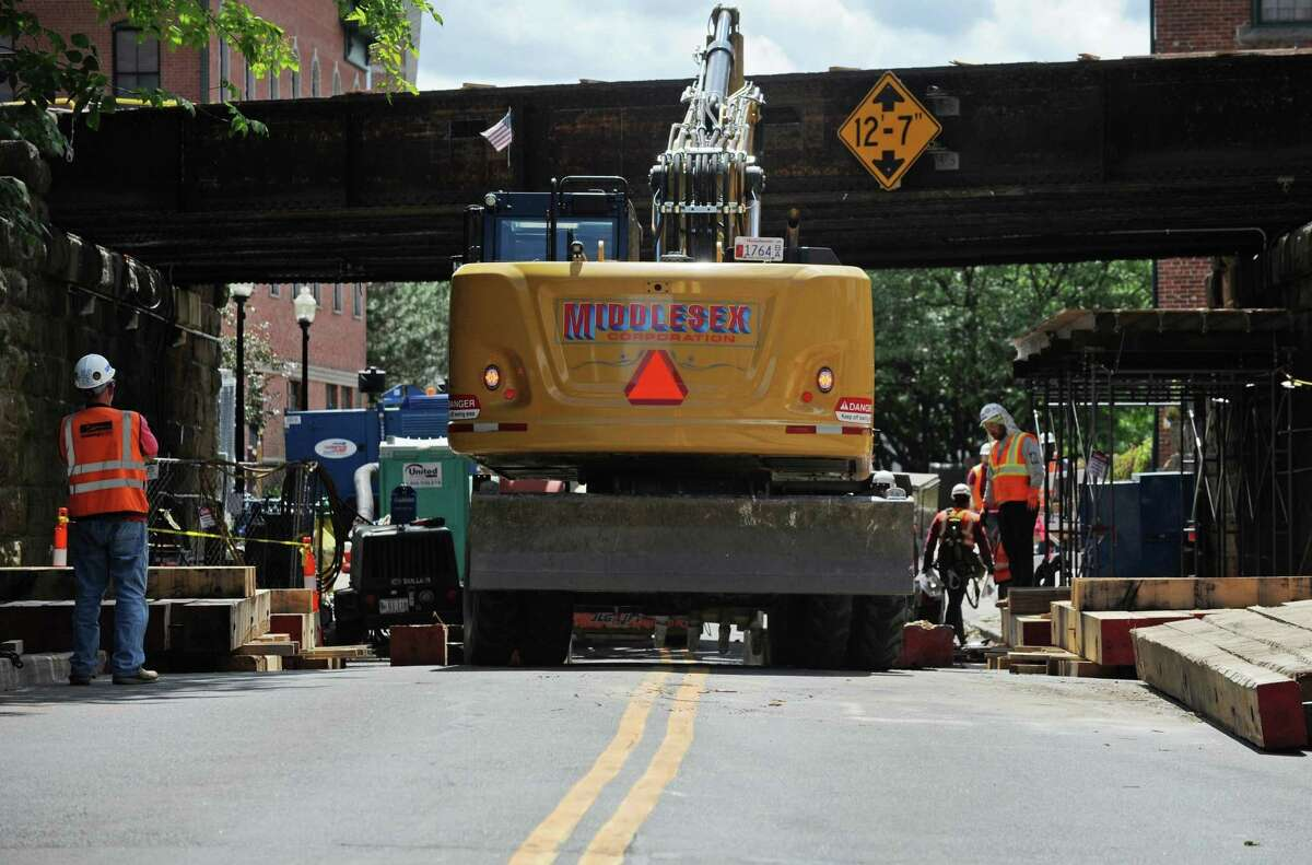 Metro North constrcution on the Ann Street railroad overpass Friday, June 15, 2018, in Norwalk, Conn. The work will close Ann Street through July and again in the fall for another 50 days according to Connecticut Department of Transportation.