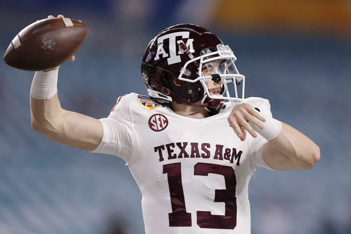 Haynes King of the Texas A&M Aggies warms up prior to the Capital One Orange Bowl against the North Carolina Tar Heels at Hard Rock Stadium on January 02, 2021 in Miami Gardens, Florida.