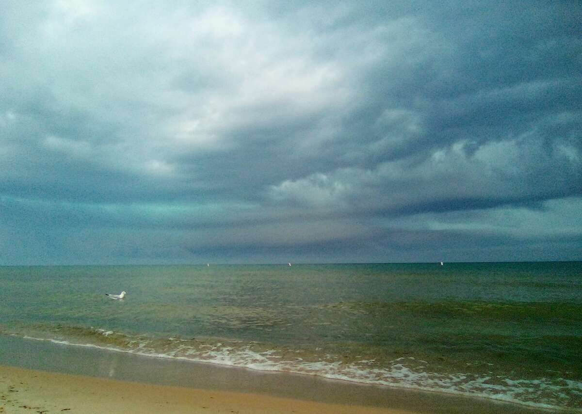 Krystal Brown took this photo on Tuesday at First Street Beach in Manistee of a storm coming in over Lake Michigan.