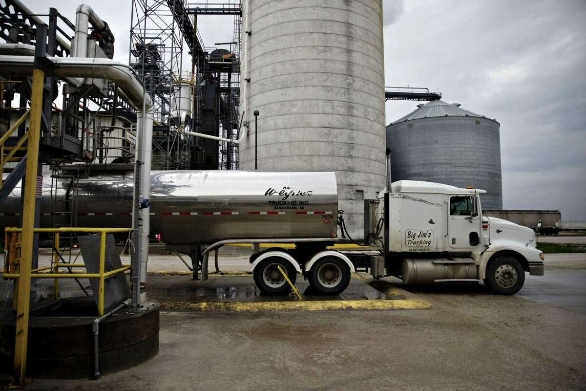 A tanker truck sits outside the POET ethanol biorefinery in Gowrie, Iowa. Oil lobbyists are eagerly waiting to see whether Biden will sign off on keeping level or even lowering U.S. biofuel mandates, reports of which has swirled around Washington in recent months.
