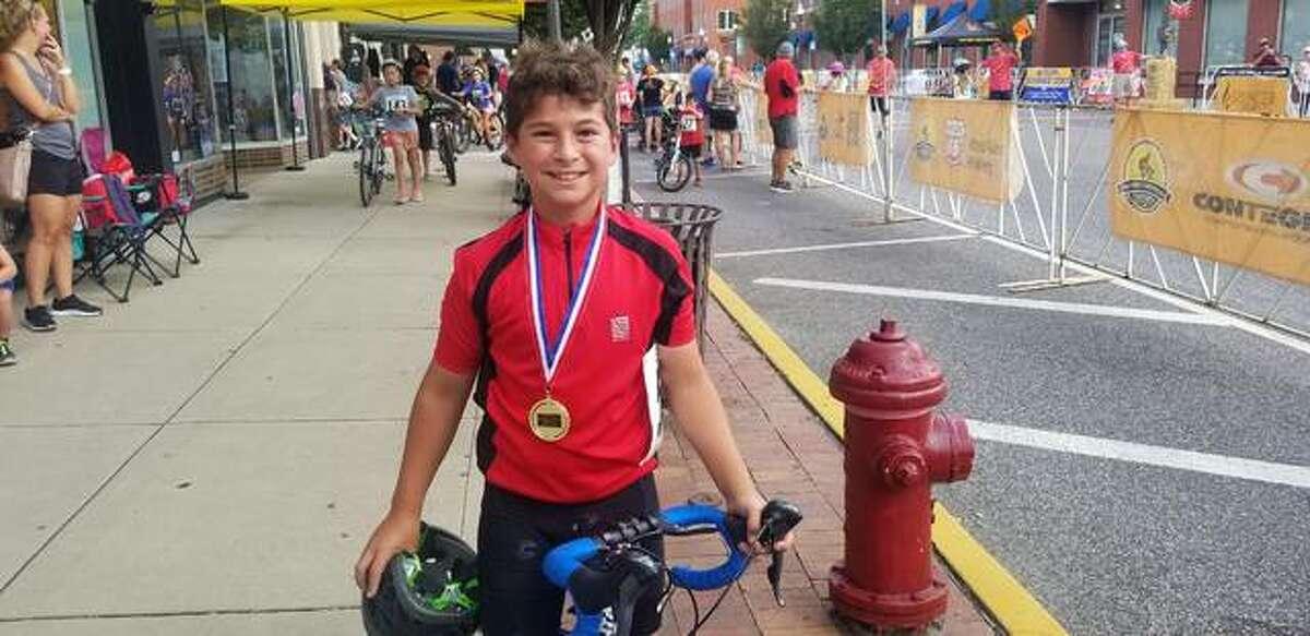 Nolan Schmieder won first in the 9-11 Crit Kids Race.