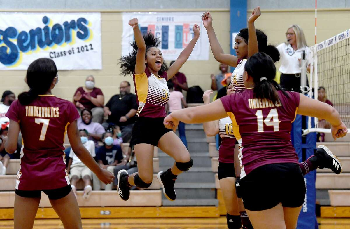 Beaumont United players celebrate as they score against Hamshire-Fannett in Hamshire Tuesday. Photo made Tuessday, August 24, 2021 Kim Brent/The Enterprise