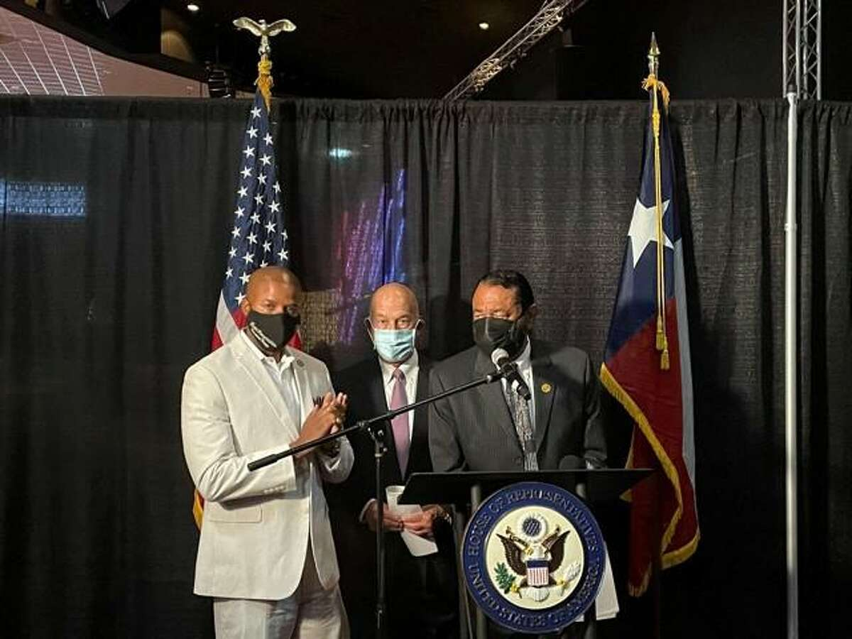 Pictured from left during the inaugural Slavery Remembrance Day commemoration are State Rep. Ron Reynolds, State Sen. John Whitmire and U.S. Rep. Al Green.