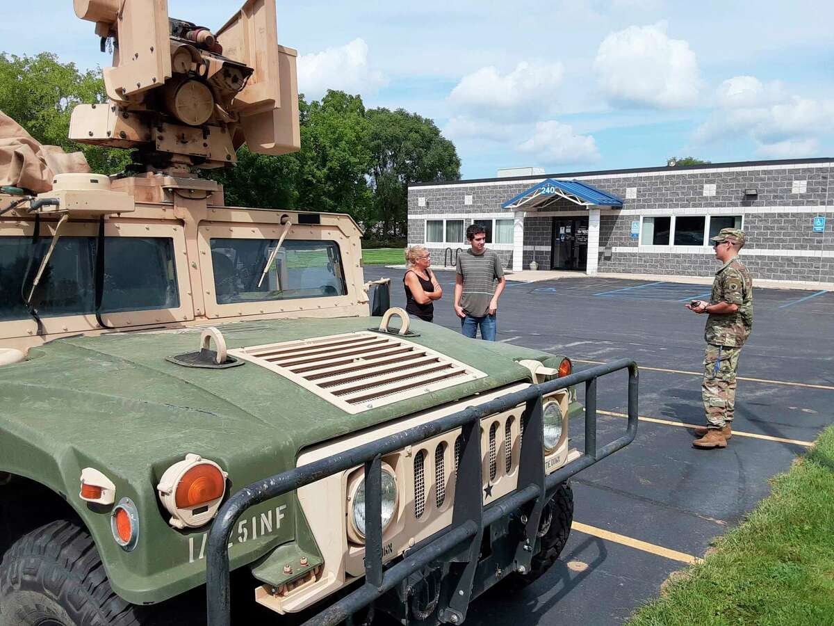 The final tour of the day was with the Michigan National Guard. Although their recruiting center is located in Big Rapids, two guardsmen traveled to the Michigan Works! West Central service center in Reed City to give a presentation to the young adults on the tour. (Submitted photo)