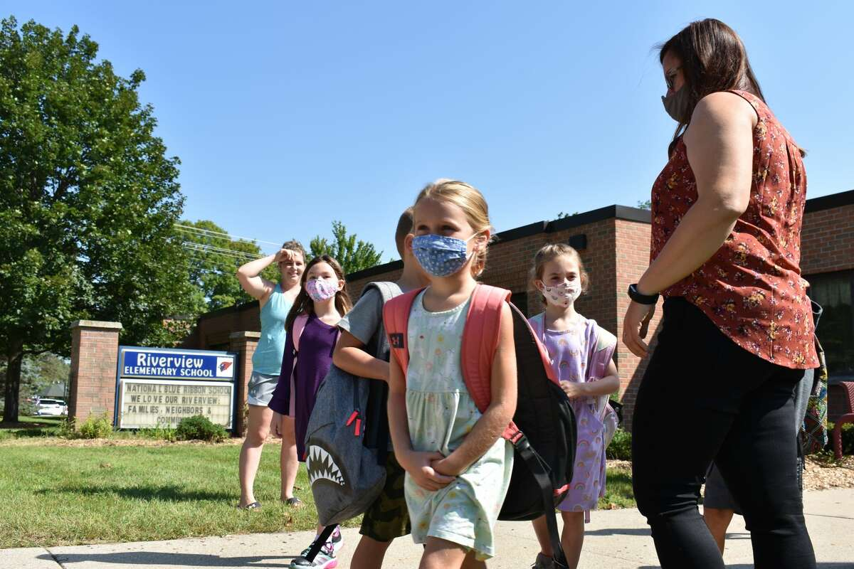 On Aug. 25, parents and family of students attending Riverview Elementary School in Big Rapids celebrated their departure from the first day of school of the year.