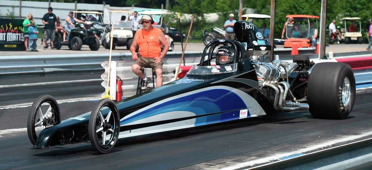 Jason Watt of Bear Lake runs his Ford-powered dragster in the Bracket I class at NMD. Watt finished 19th in the points standings in 2020, having his best weekend at the Blue Oval Battle VIII. (Courtesy photo/Chris Simmons Photography)