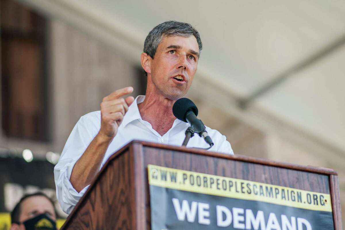 AUSTIN, TEXAS - JULY 31: Former U.S. Rep. Beto O'Rourke speaks during the Georgetown to Austin March for Democracy rally on July 31, 2021 in Austin, Texas. Texas activists and demonstrators rallied at the Texas state Capitol after completing a 27-mile long march, from Georgetown to Austin, demanding federal action on voting rights legislation. (Photo by Brandon Bell/Getty Images)