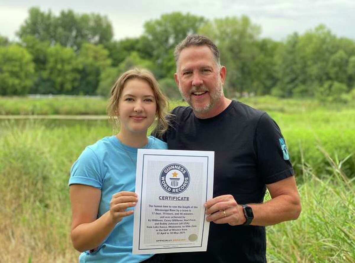 Casey and KJ Millhone of Wayzata, Minnesota, hold a Guinness World Record certificate for posting the fastest time for a team to row the length of the Mississippi River: 17 days, 19 hours and 46 minutes, April 22 to May 10. The team passed through the Riverbend on May 2.