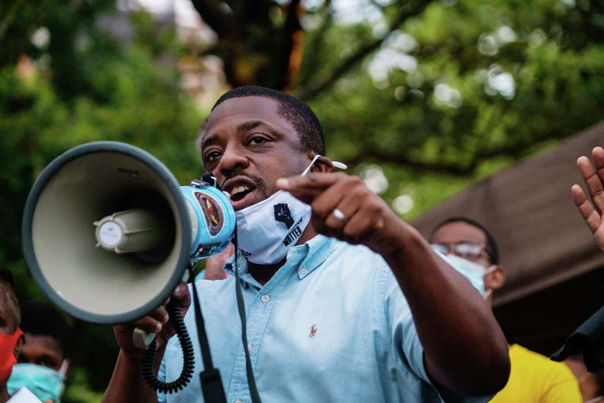 FILE - Brian Benjamin, a state senator from Harlem, addresses a rally in New York on July 11, 2020. New York Gov. Kathy C. Hochul, who was sworn in as the state's first female governor on Aug. 24, 2021, is expected to announce her choice of Benjamin to be her lieutenant governor.